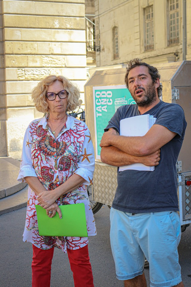 Les acteurs à Arles de la collecte de déchets recyclables à vélo